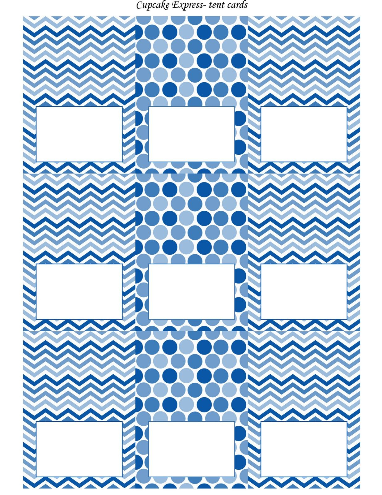 Free Blue And White Printable Tent Cards | Free Printables - Free Printable Food Tent Cards