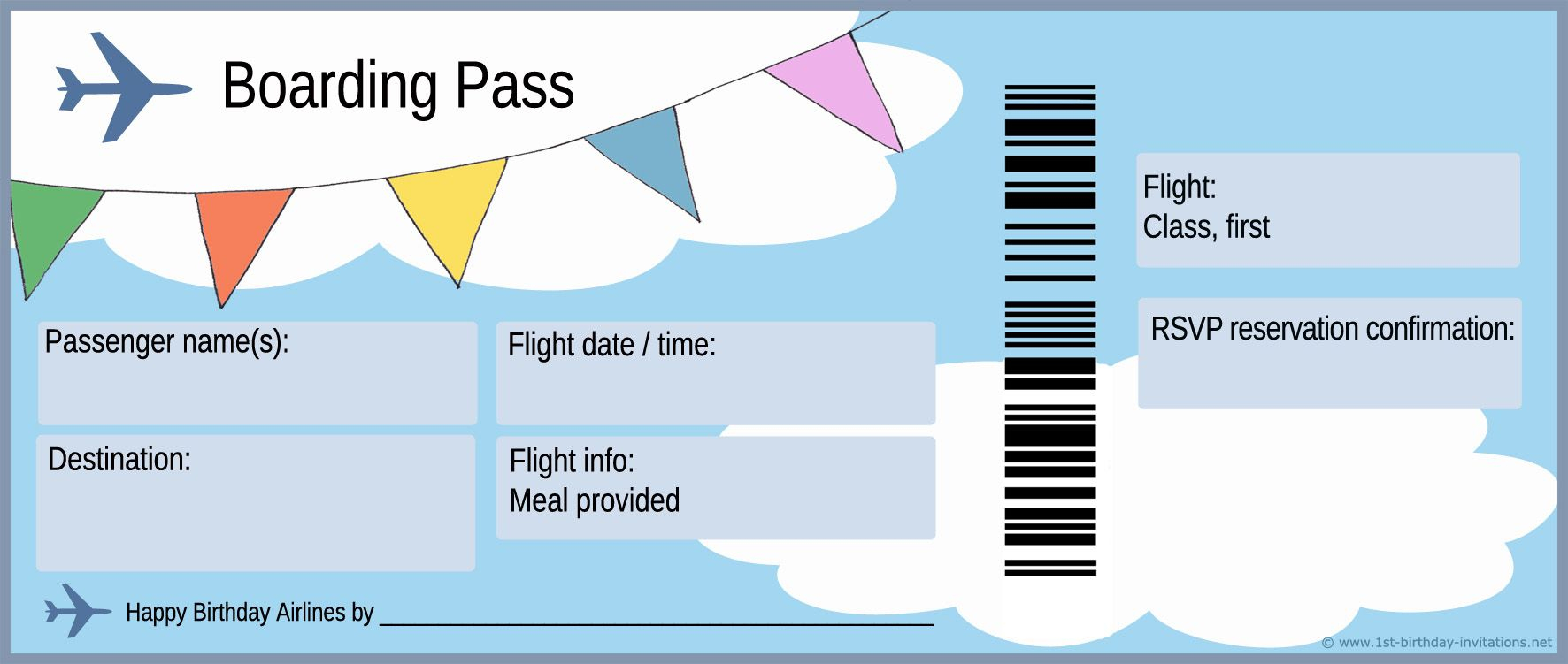 Free Boarding Pass Template - Google Search | Homeschool: About - Free Printable Airplane Template