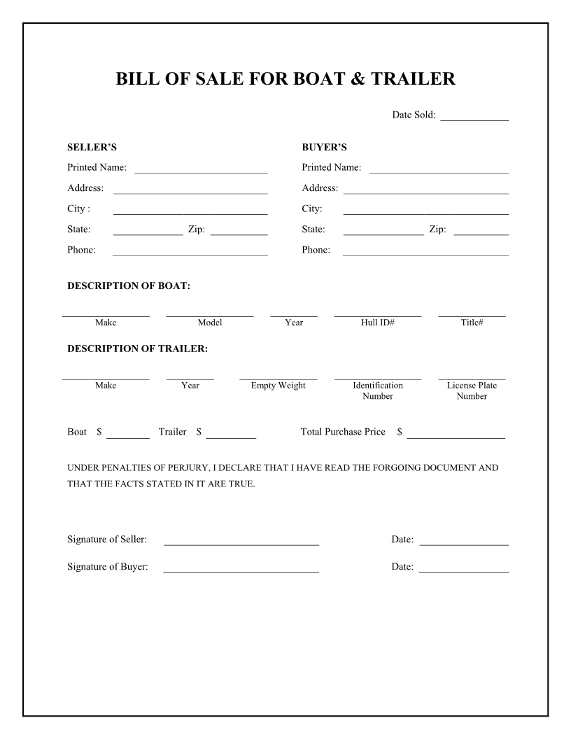Free Boat & Trailer Bill Of Sale Form - Download Pdf   Word - Free Printable Bill Of Sale For Trailer