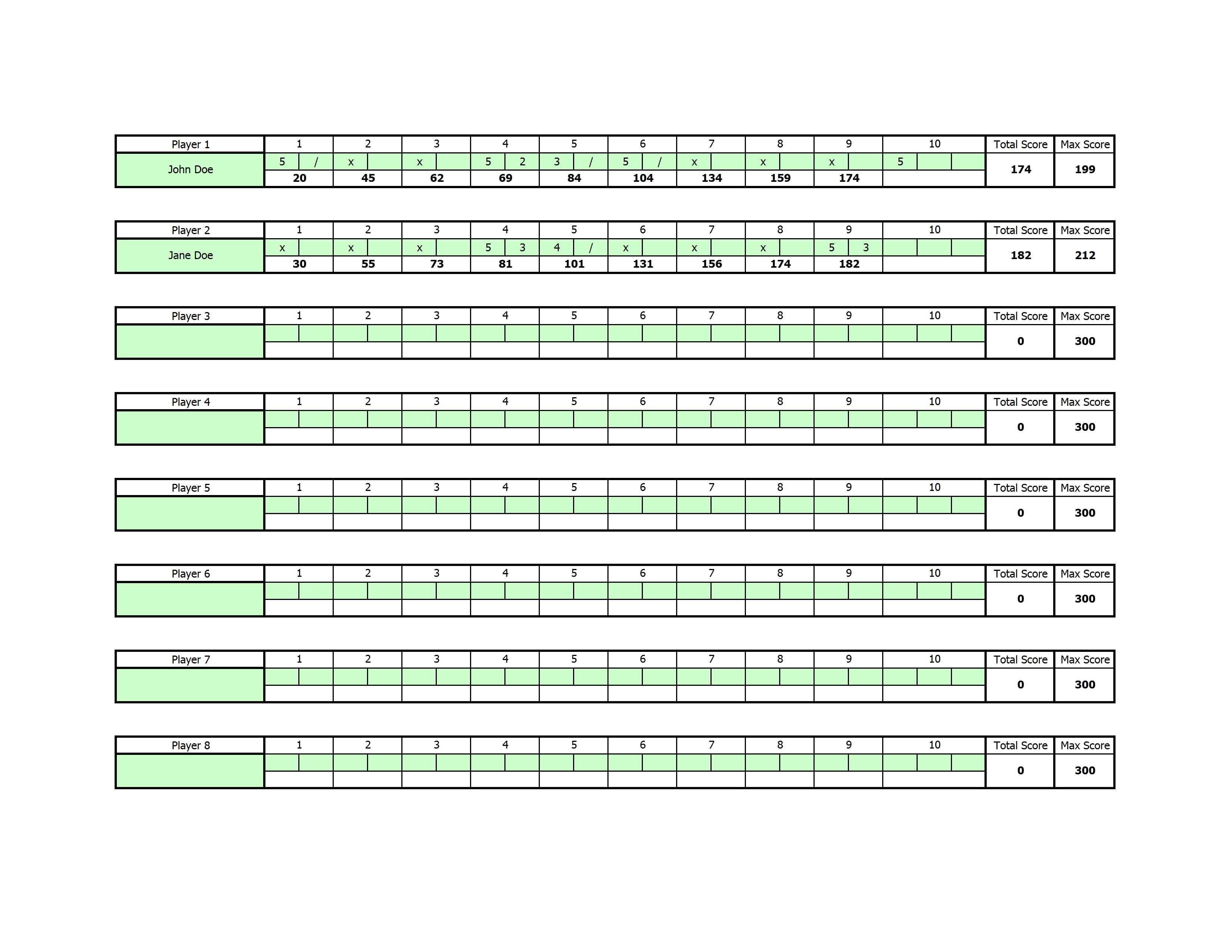 Free Bowling Score Sheet Template - Free Printable Bowling Score Sheets