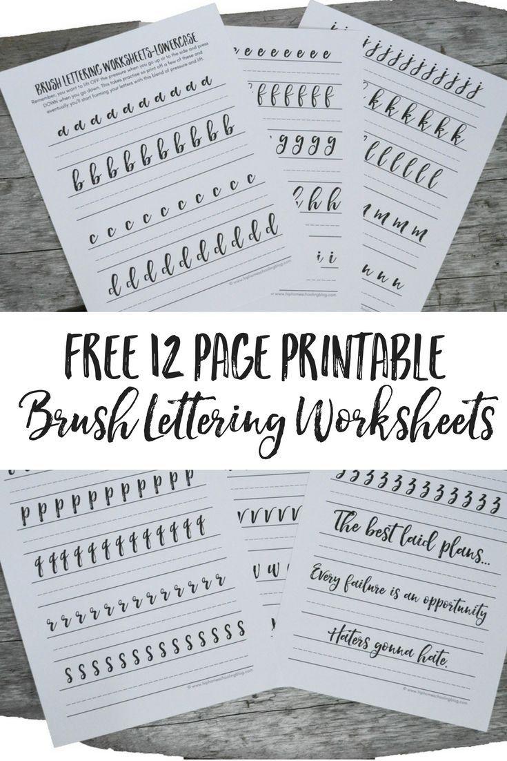 Free Brush Lettering Worksheets | Lettering | Pinterest | Brush - Free Printable Calligraphy Worksheets