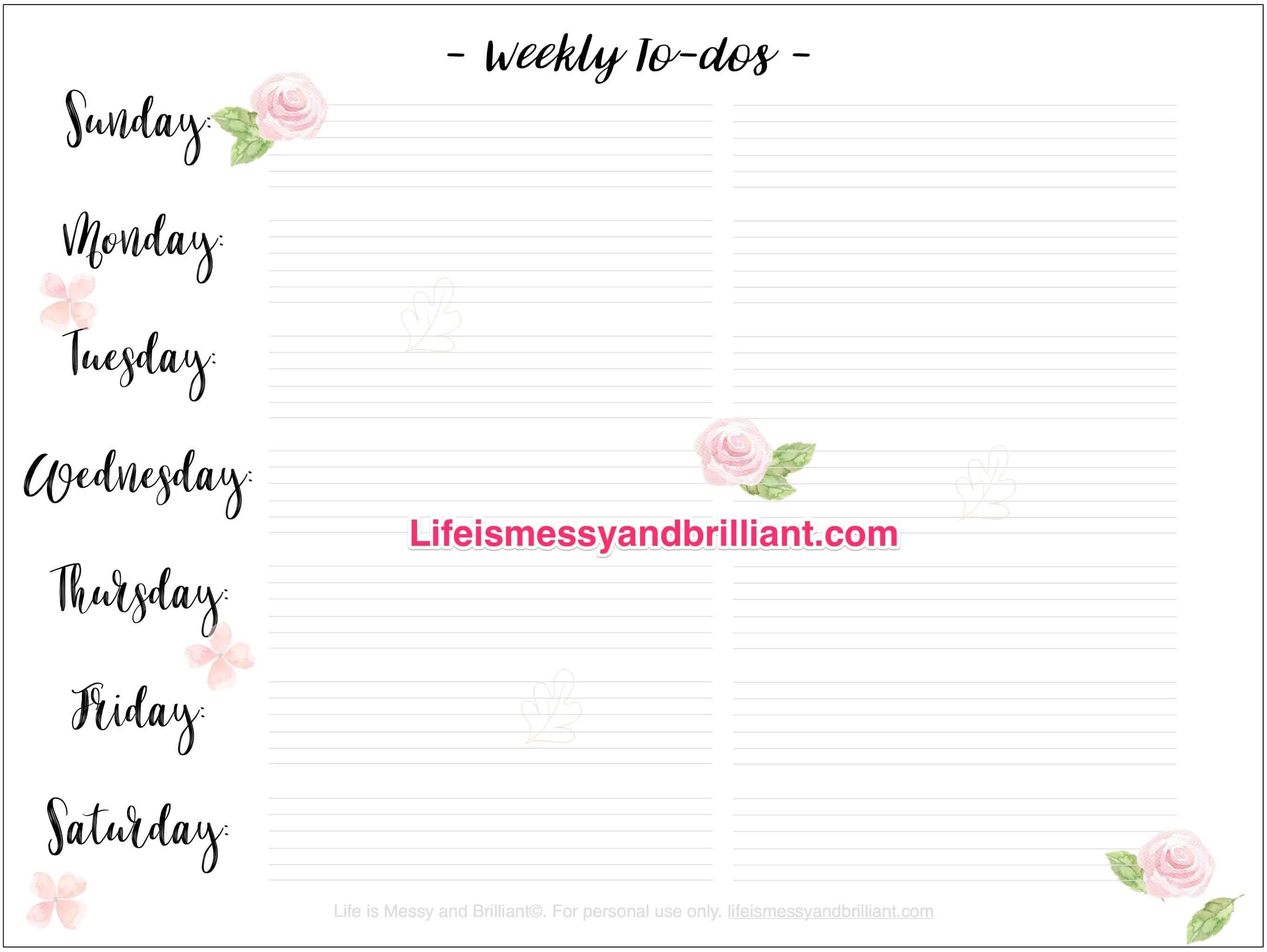 Free Bullet Journal Weekly Spread Printables - Free Printable Journal Pages