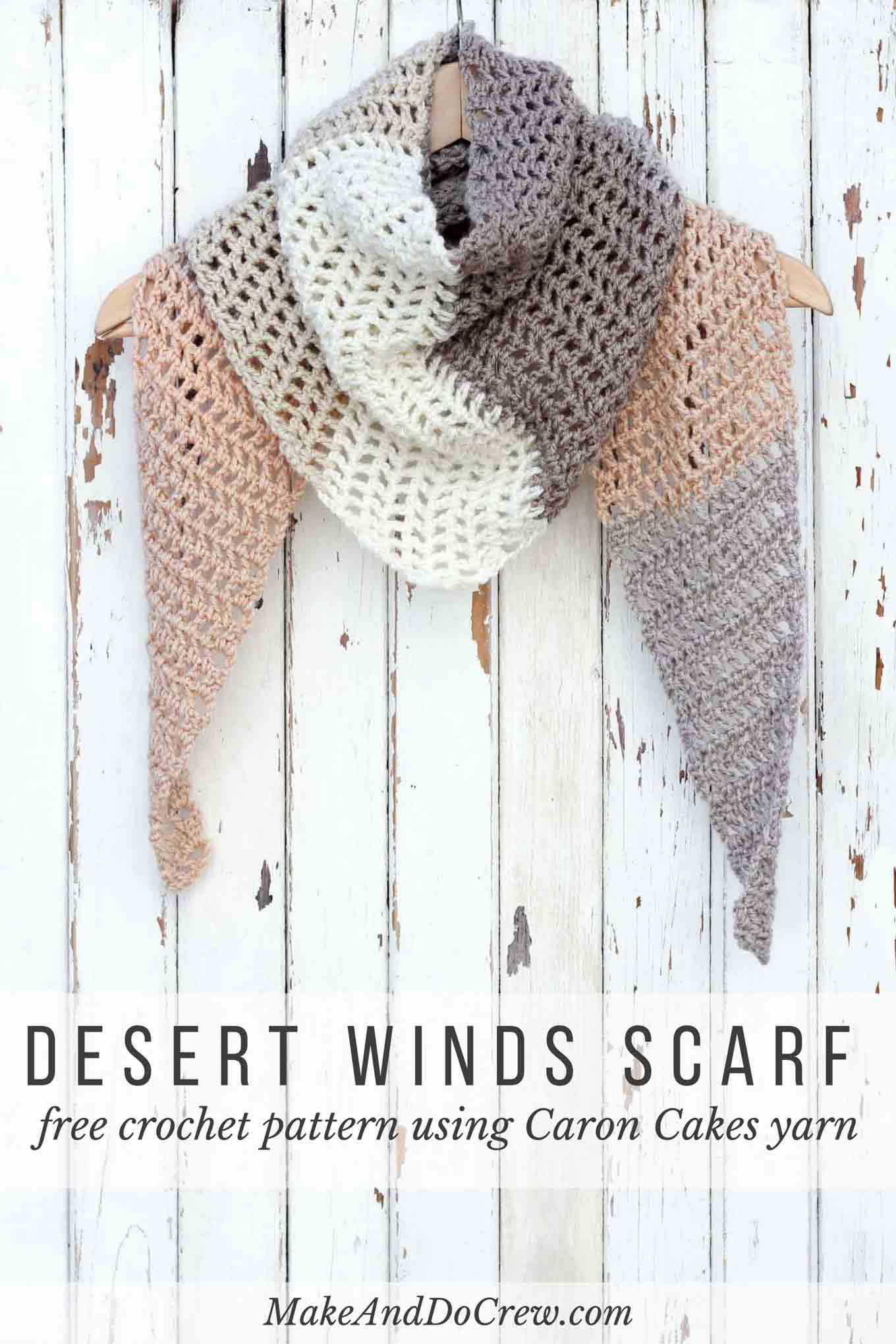 Free Caron Cakes Crochet Pattern - Desert Winds Triangle Scarf - Free Printable Crochet Scarf Patterns