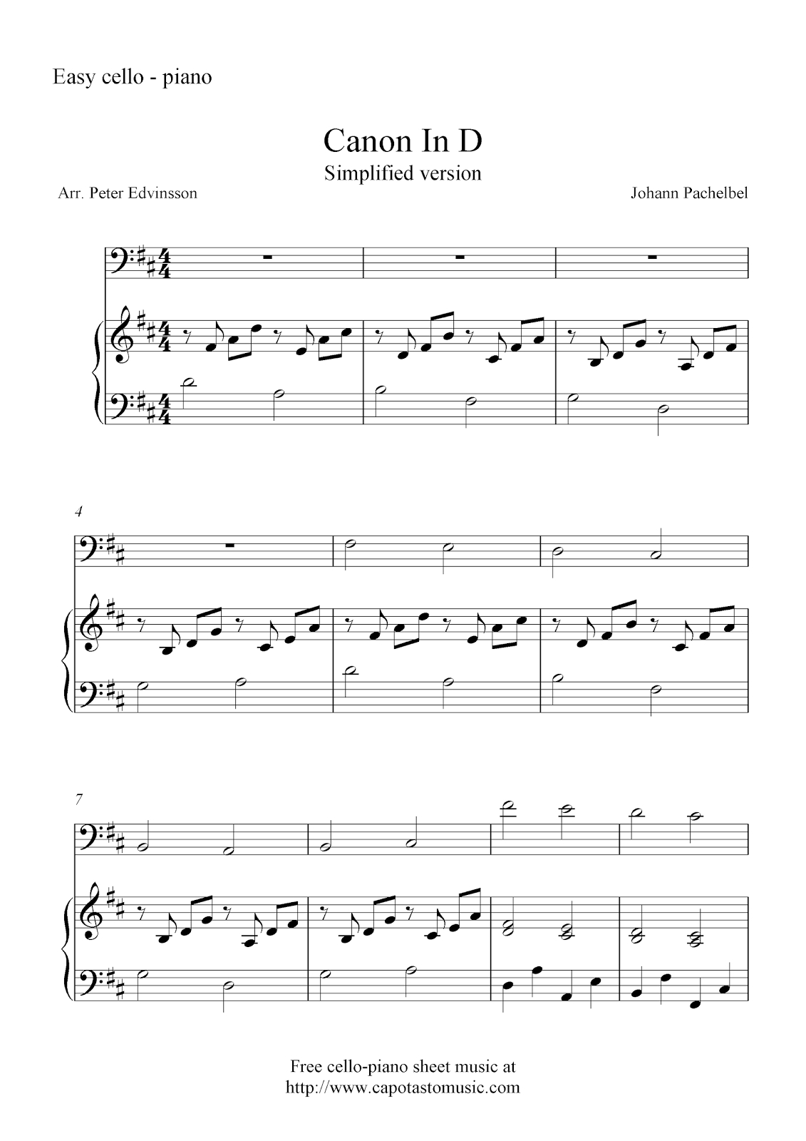 Free Cello And Piano Sheet Music, Canon In D - Canon In D Piano Sheet Music Free Printable