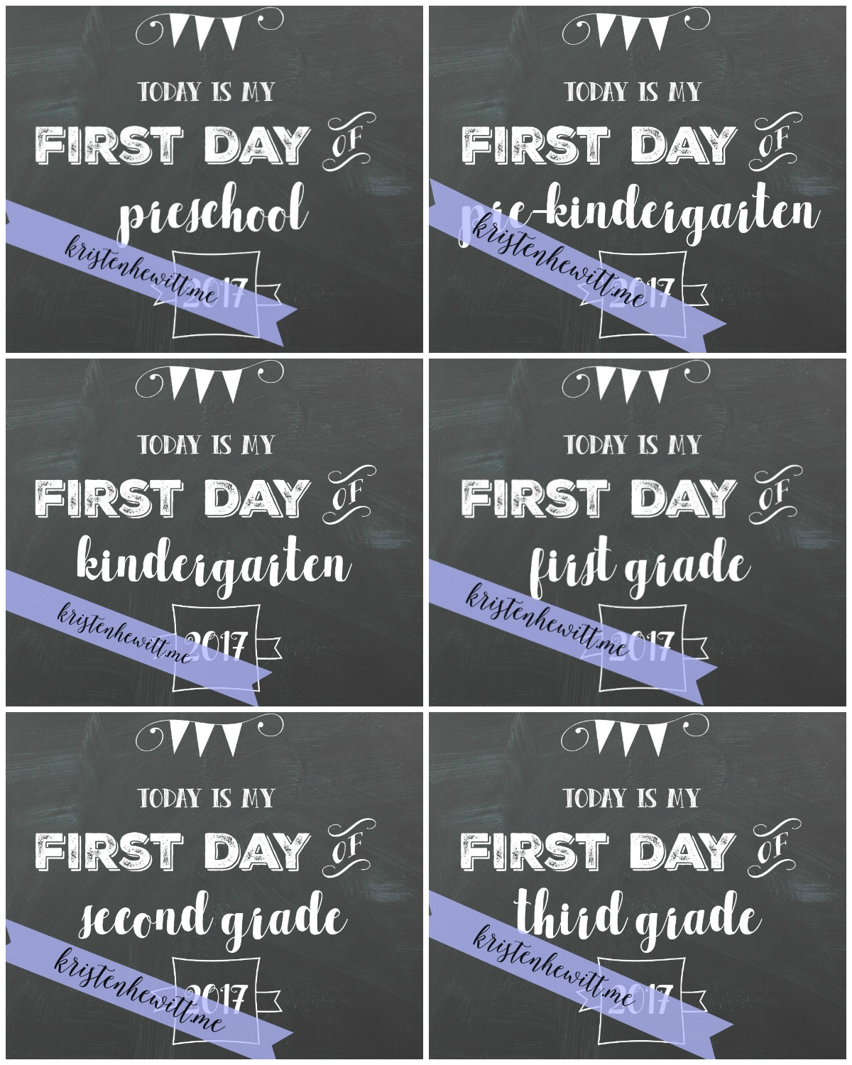 Free Chalkboard First Day Of School Printables - Kristen Hewitt - Free Printable First Day Of School Chalkboard Signs