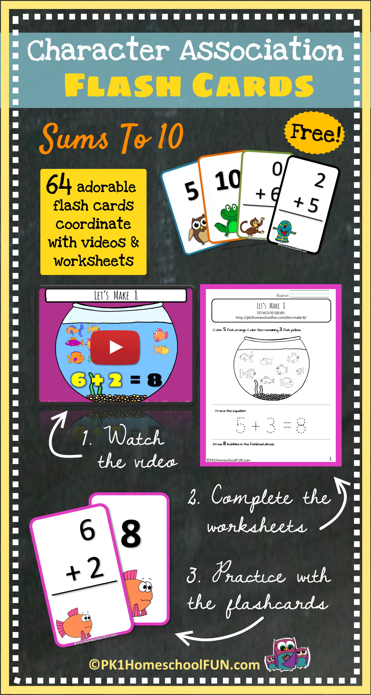 Free Character Association Flash Cards - Pk1Homeschoolfun - Free Printable Math Flashcards Addition