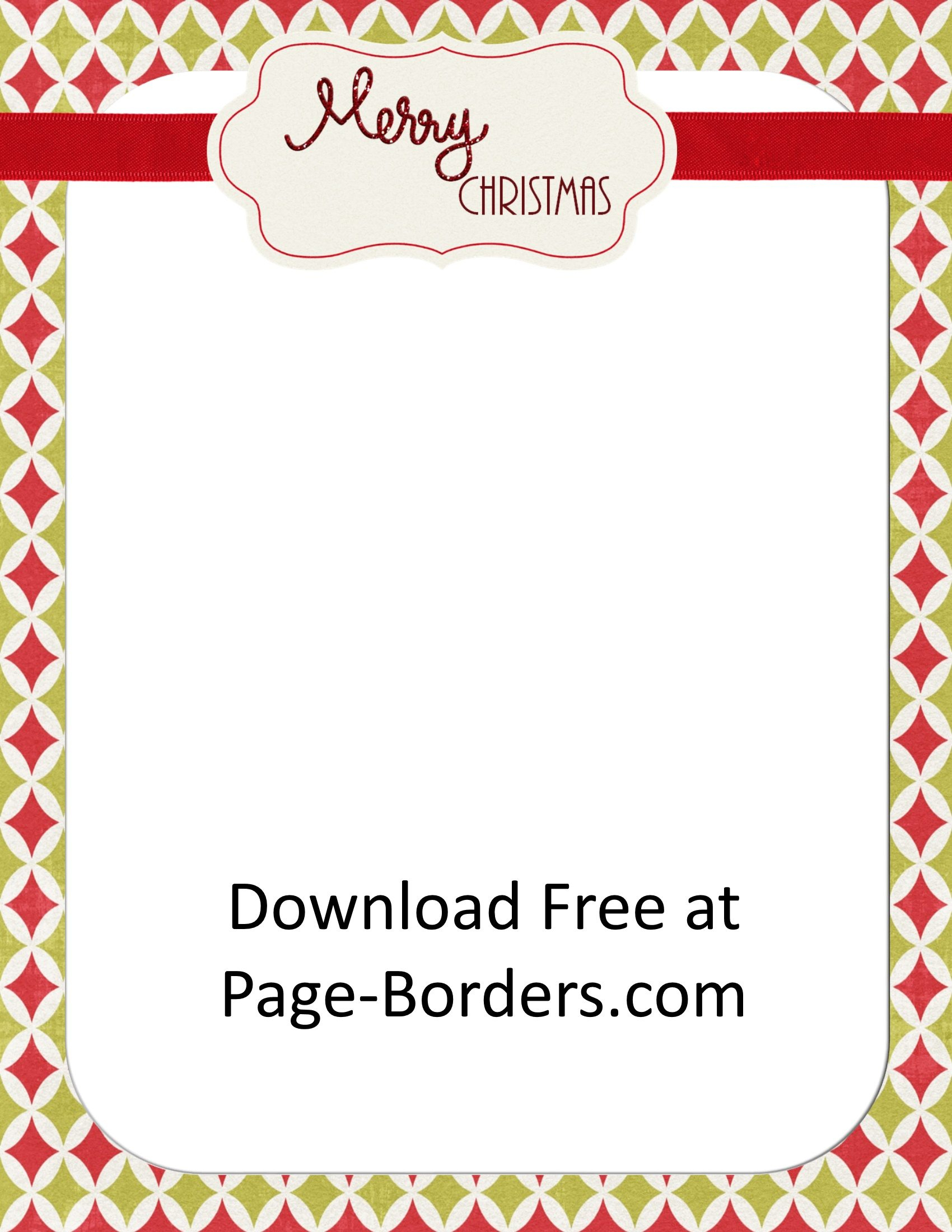 Free Christmas Border   Customize Online   Personal & Commercial Use - Free Printable Page Borders Christmas