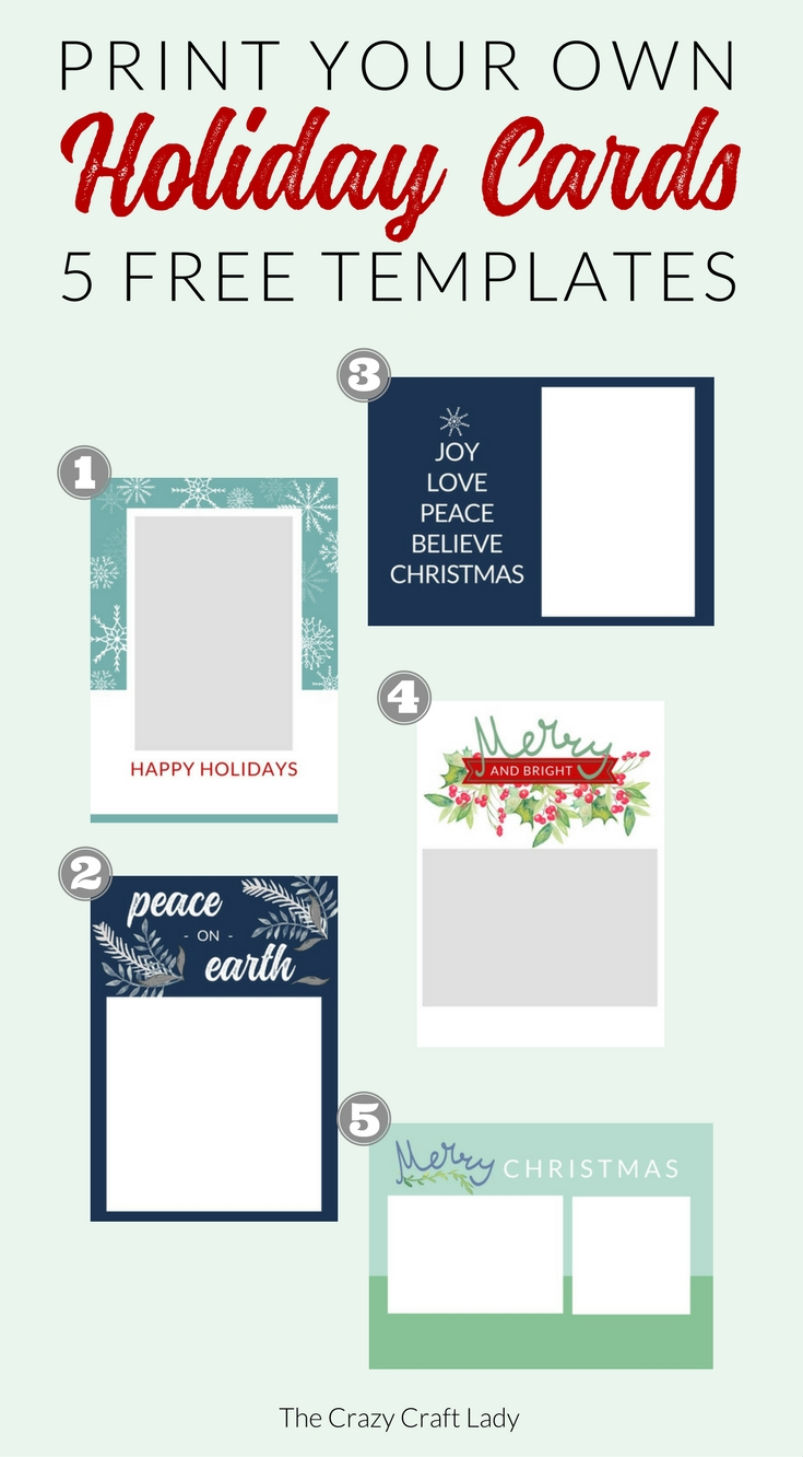 Free Christmas Card Templates - The Crazy Craft Lady - Free Printable Happy Holidays Greeting Cards