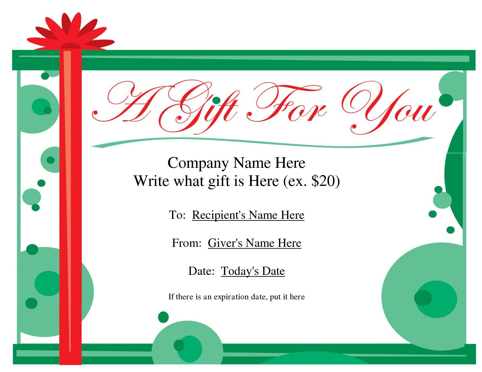 Free Christmas Gift Certificate Templates | Ideas For The House - Free Printable Gift Certificates For Hair Salon