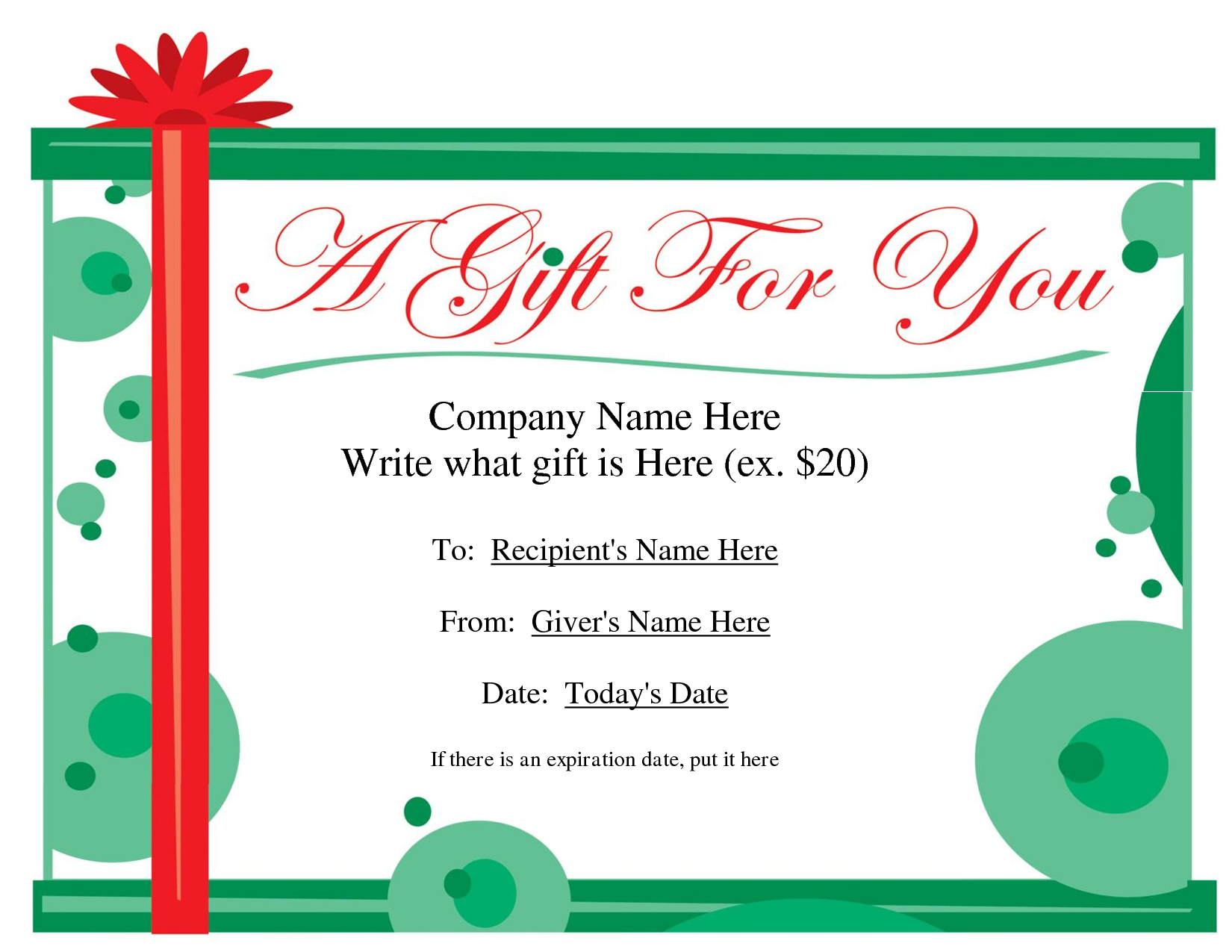 Free Christmas Gift Certificate Templates | Ideas For The House - Free Printable Photography Gift Certificate Template