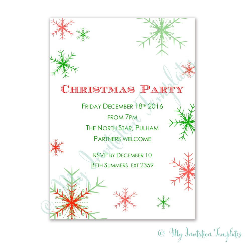 Free Christmas Party Invitation Template. Snowman Free Christmas - Free Printable Christmas Invitations