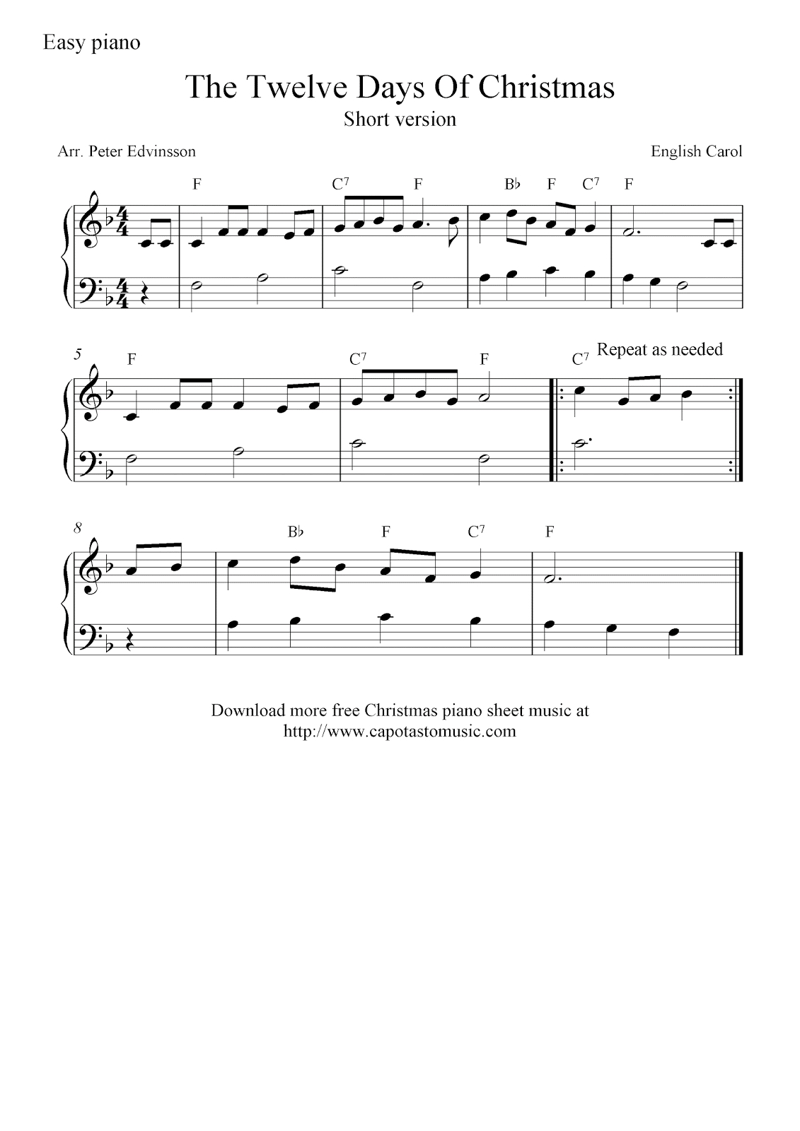 Free Christmas Piano Sheet Music Notes, The Twelve Days Of Christmas - Christmas Piano Sheet Music Easy Free Printable