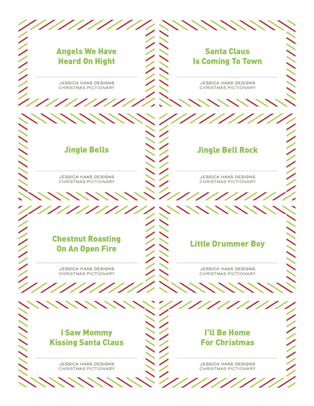 Free Christmas Pictionary Game | - Free Printable Christmas Pictionary Cards