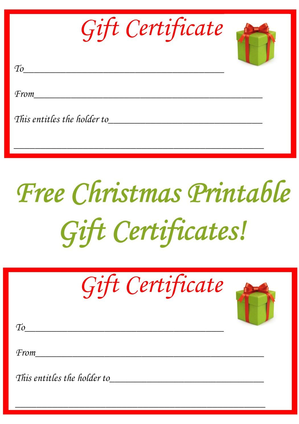Free Christmas Printable Gift Certificates | Gift Ideas | Pinterest - Free Printable Christmas Gift Cards