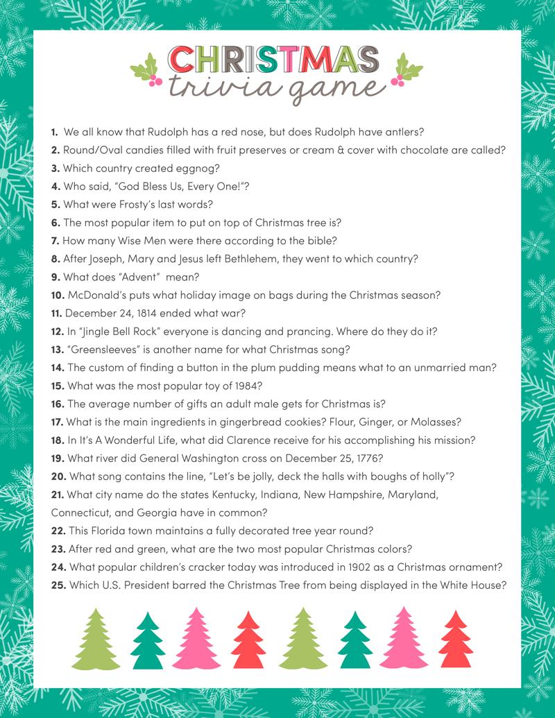 Free Christmas Trivia Game | Lauterwasser | Christmas Trivia - Free Games For Christmas That Is Printable