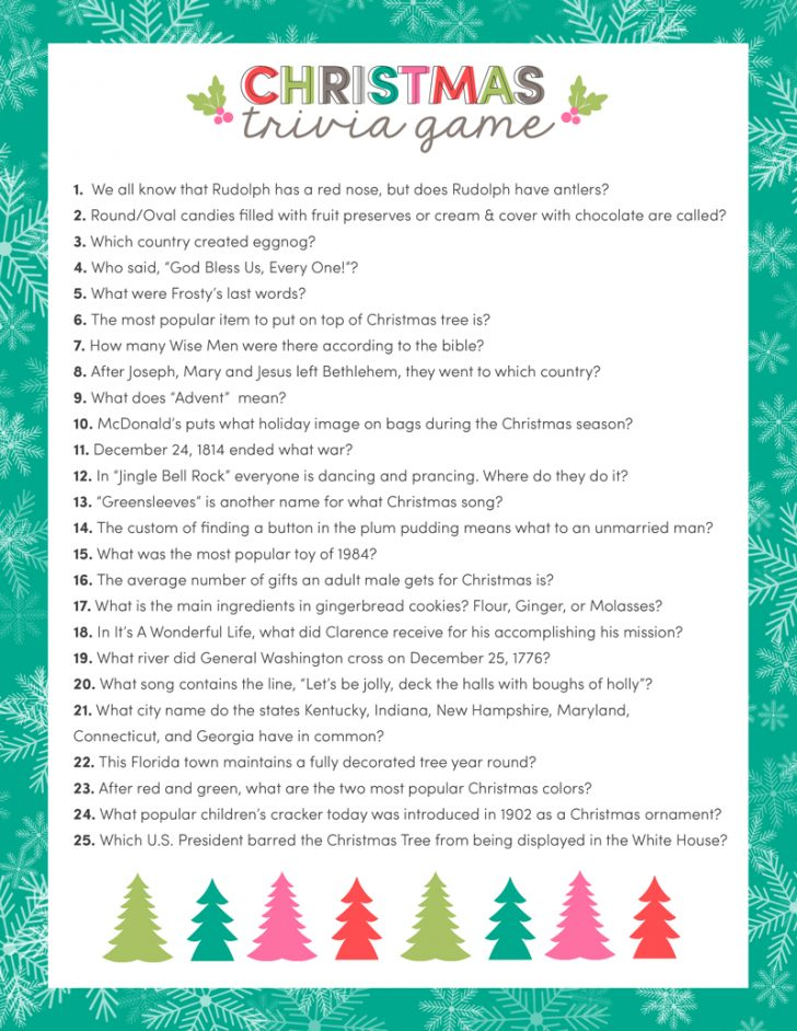 Free Christmas Picture Quiz Questions And Answers Printable