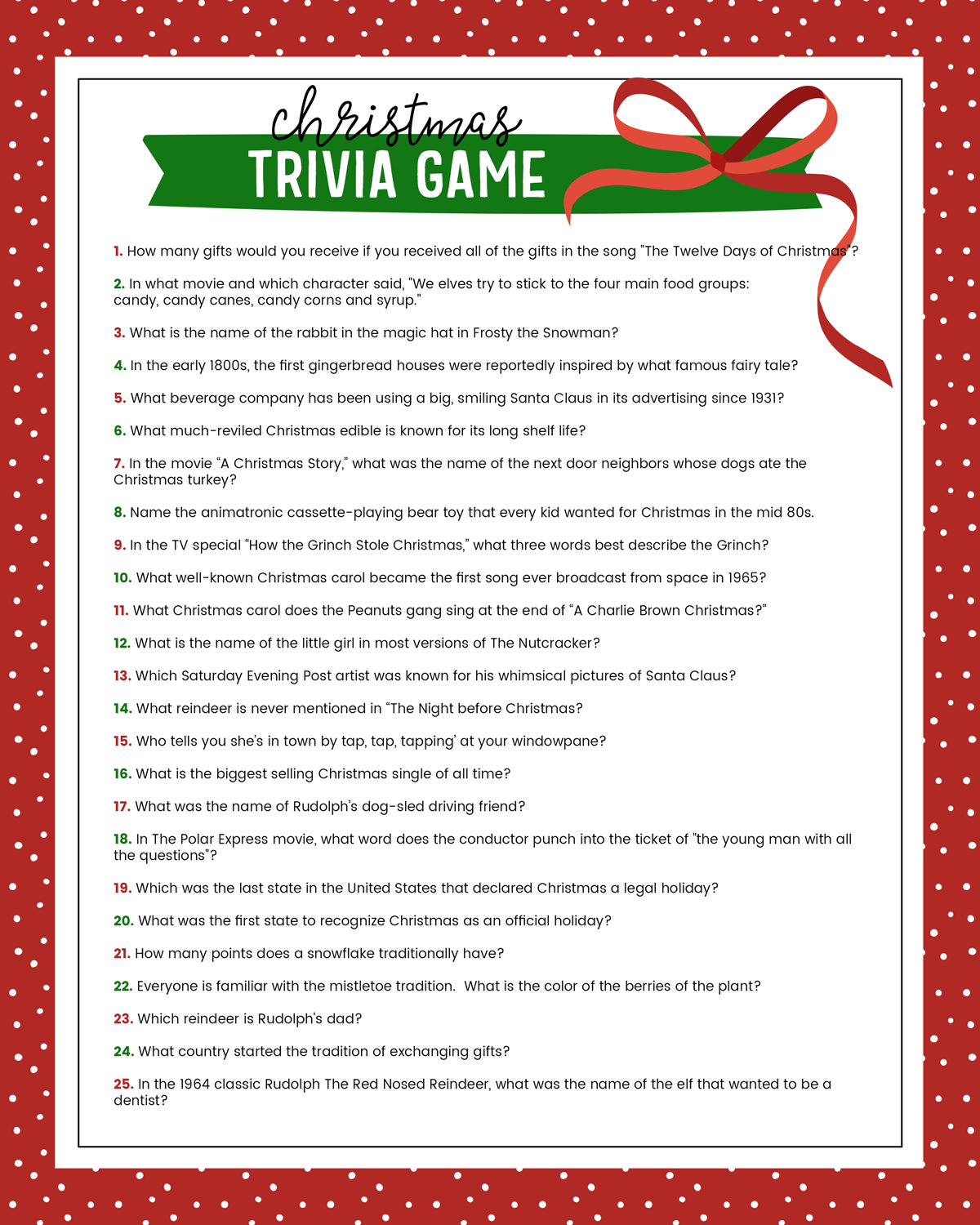 Free Christmas Trivia Game | Lil' Luna - Free Printable Trivia Questions And Answers
