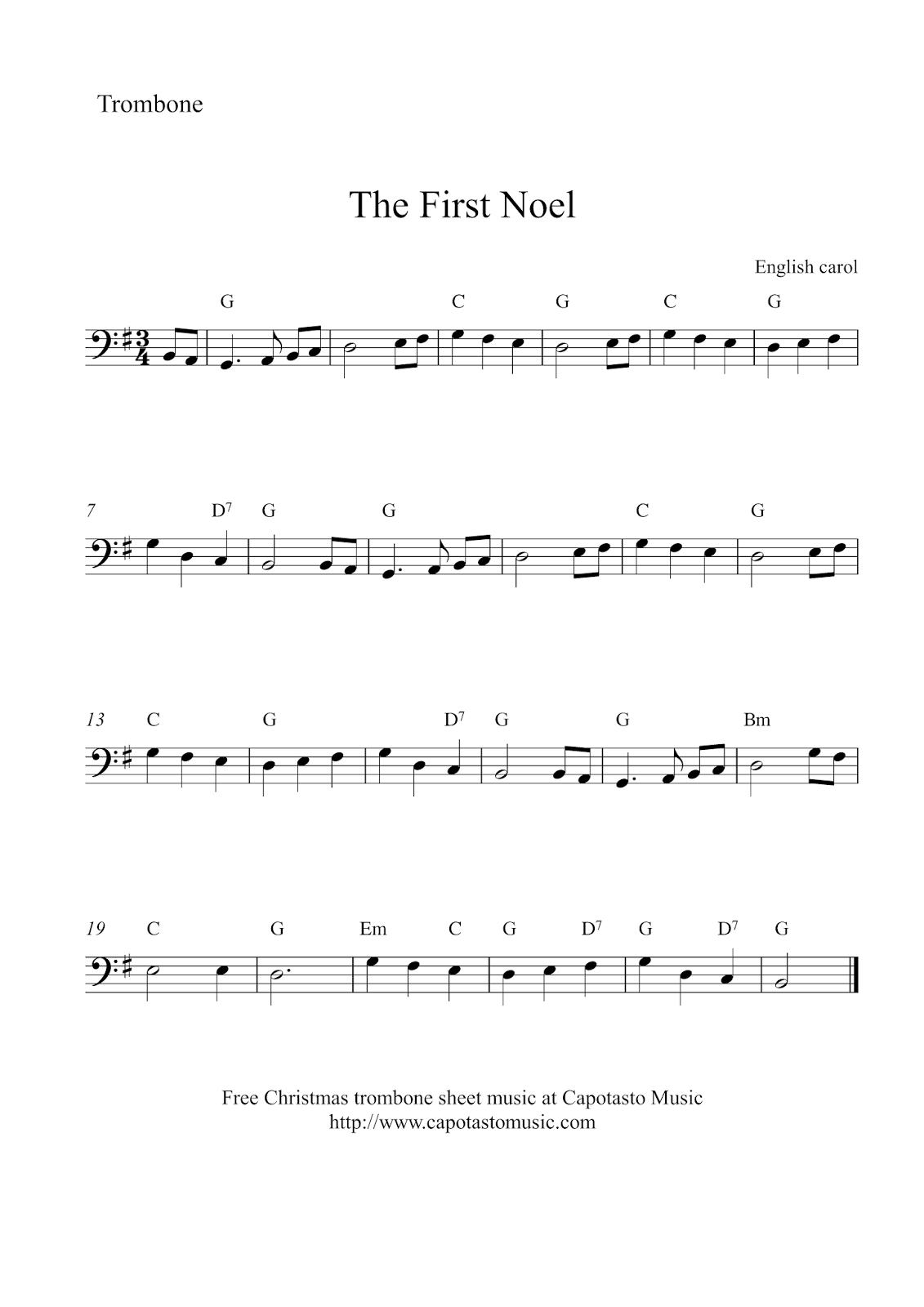 photo regarding Free Printable Trombone Sheet Music identified as No cost Xmas Trombone Sheet Audio - The 1st Noel