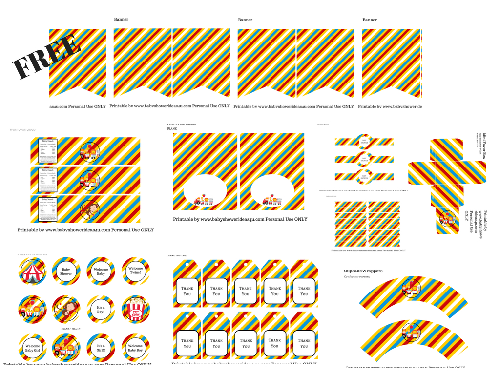 Free Circus Printables - Baby Shower Ideas - Themes - Games - Free Printable Carnival Decorations