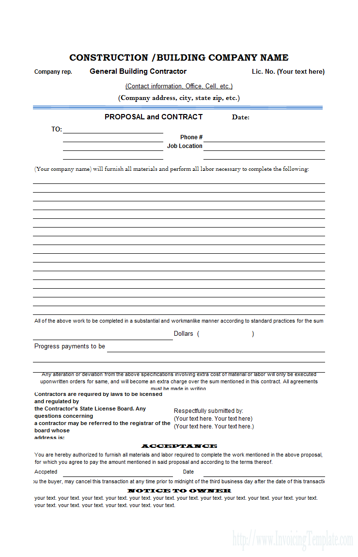 Free Construction Proposal Template - Construction Proposal Template - Free Printable Contractor Proposal Forms