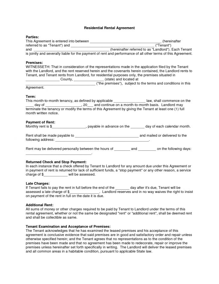 Apartment Lease Agreement Free Printable