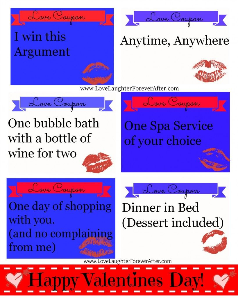 Free Couples Valentines Day Coupon Printable | Love, Laughter - Free Sample Coupons Printable
