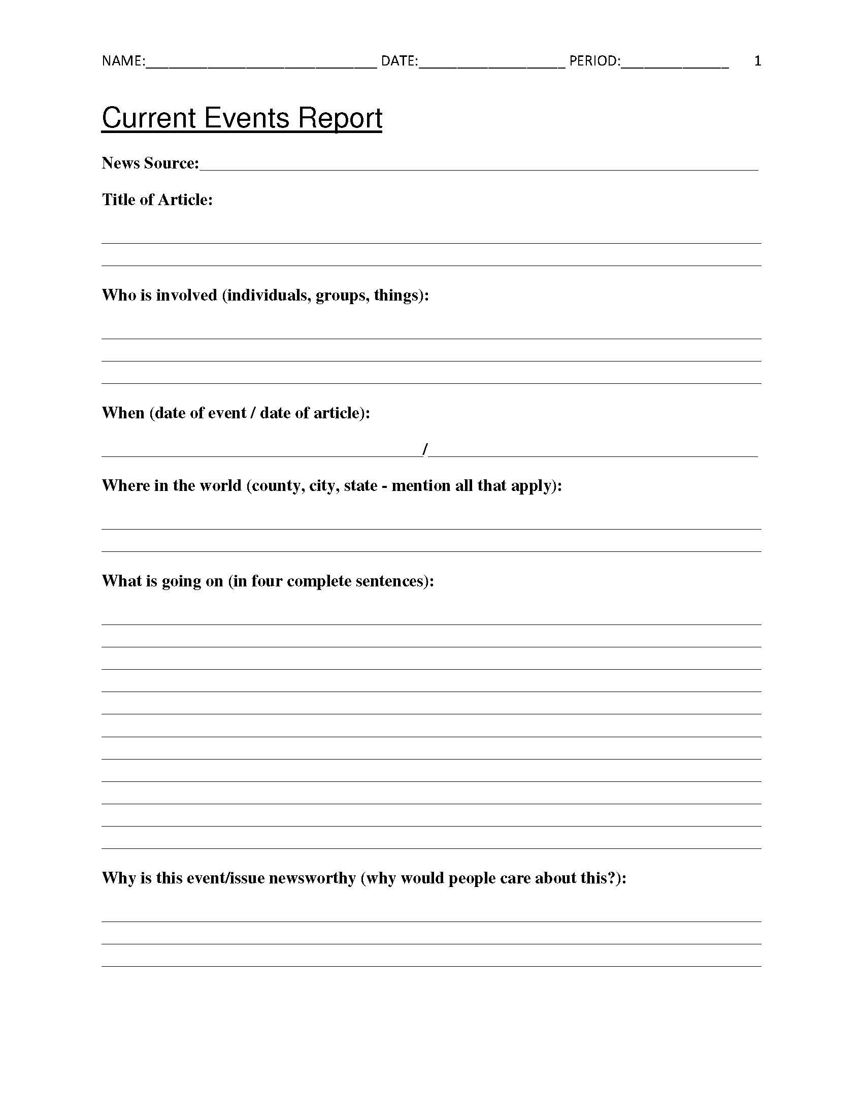 Free Current Events Report Worksheet For Classroom Teachers - Free Printable Book Report Forms For Elementary Students
