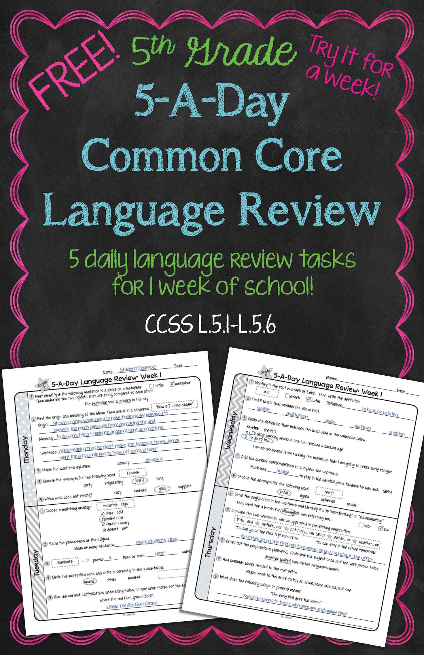 Free! Daily Common Core Language Review For 5Th Grade! Try It Out - Daily Language Review Grade 5 Free Printable