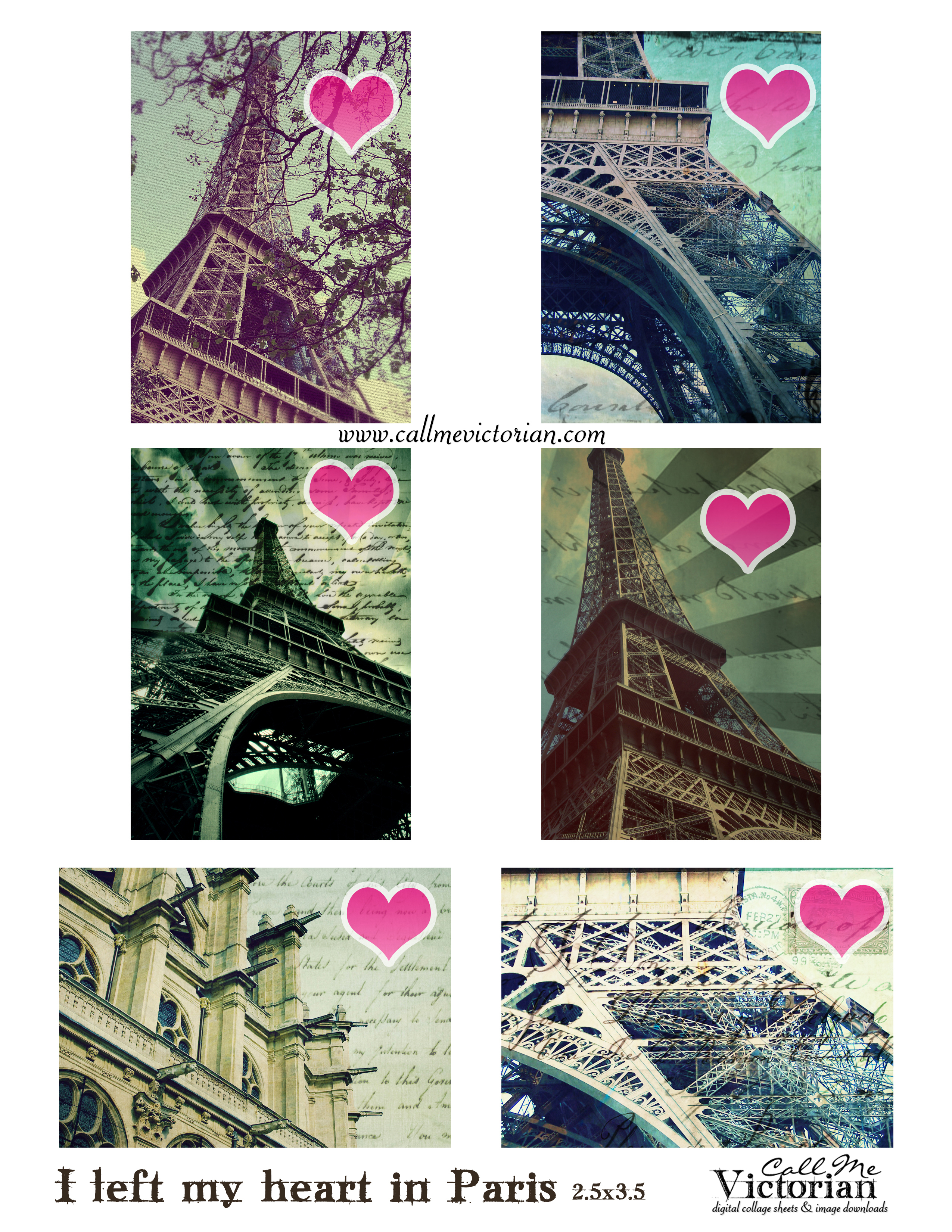 Free Digital Collage Sheet - I Left My Heart In Paris | Call Me - Free Printable Digital Collage Sheets