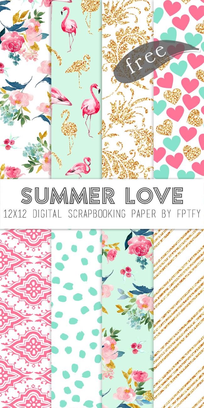 Free Digital Scrapbook Paper-Summer Love - Free Pretty Things For You - Free Printable Scrapbook Paper