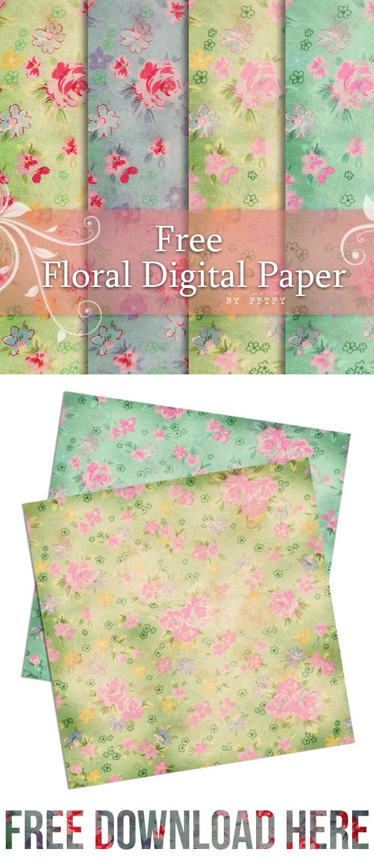 Free Digital Scrapbooking Paper- Floral Love | Fabnfree // Freebie - Free Online Digital Scrapbooking Printable