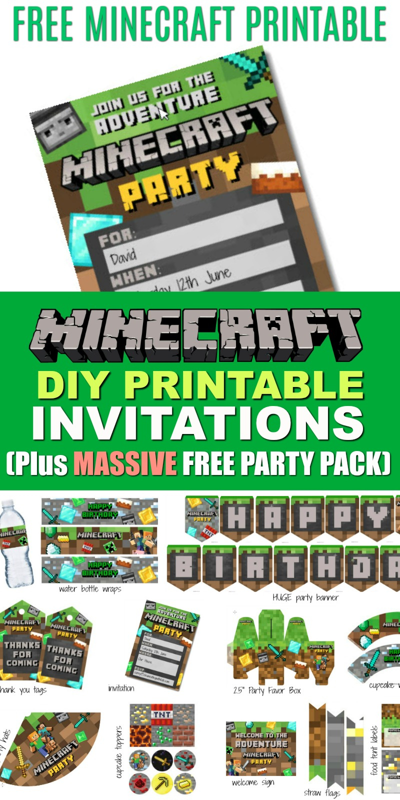 Free Diy Printable Minecraft Birthday Invitation - Clean Eating With - Free Printable Minecraft Birthday Party Invitations Templates