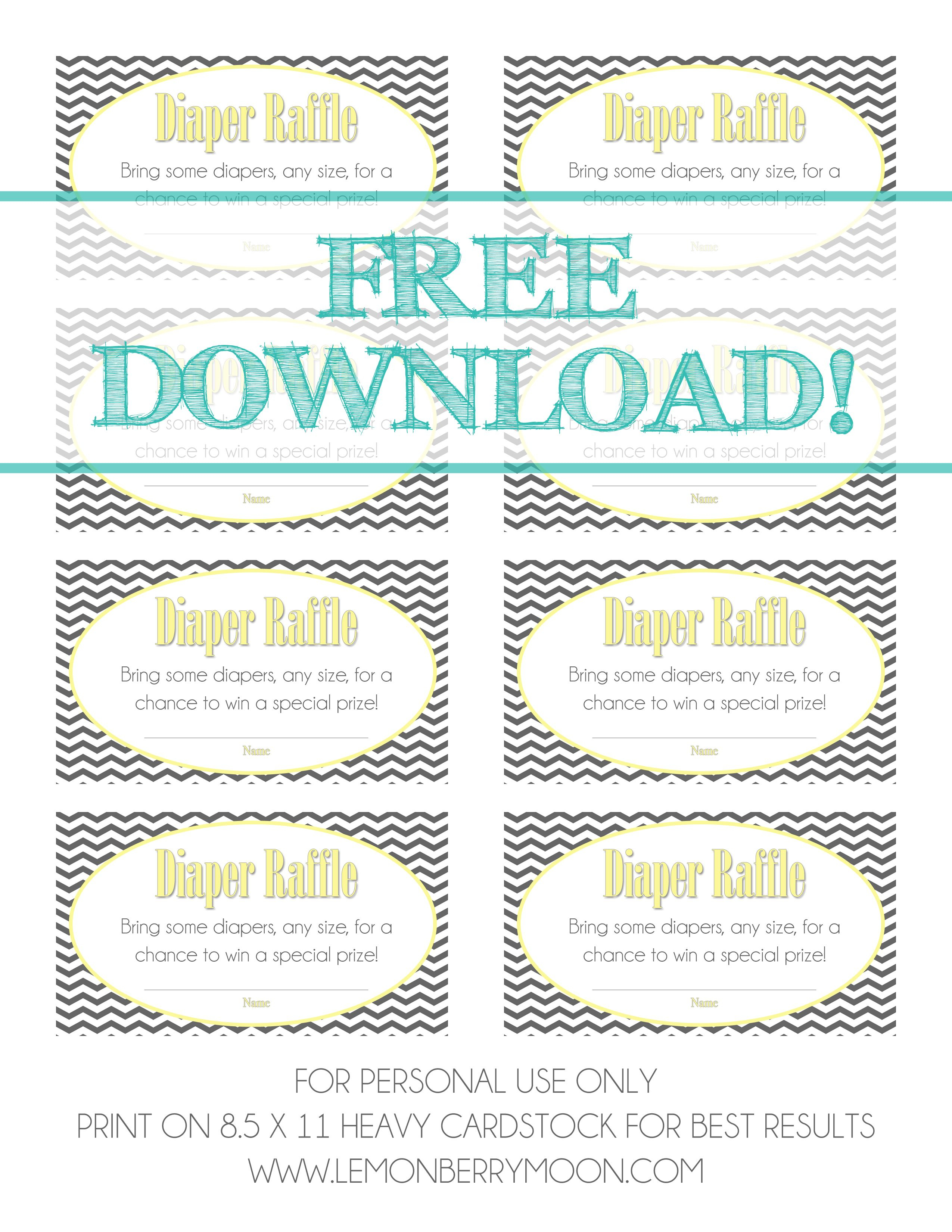 Free Download - Baby Diaper Raffle Template | Baaby Shower | Baby - Diaper Raffle Free Printable