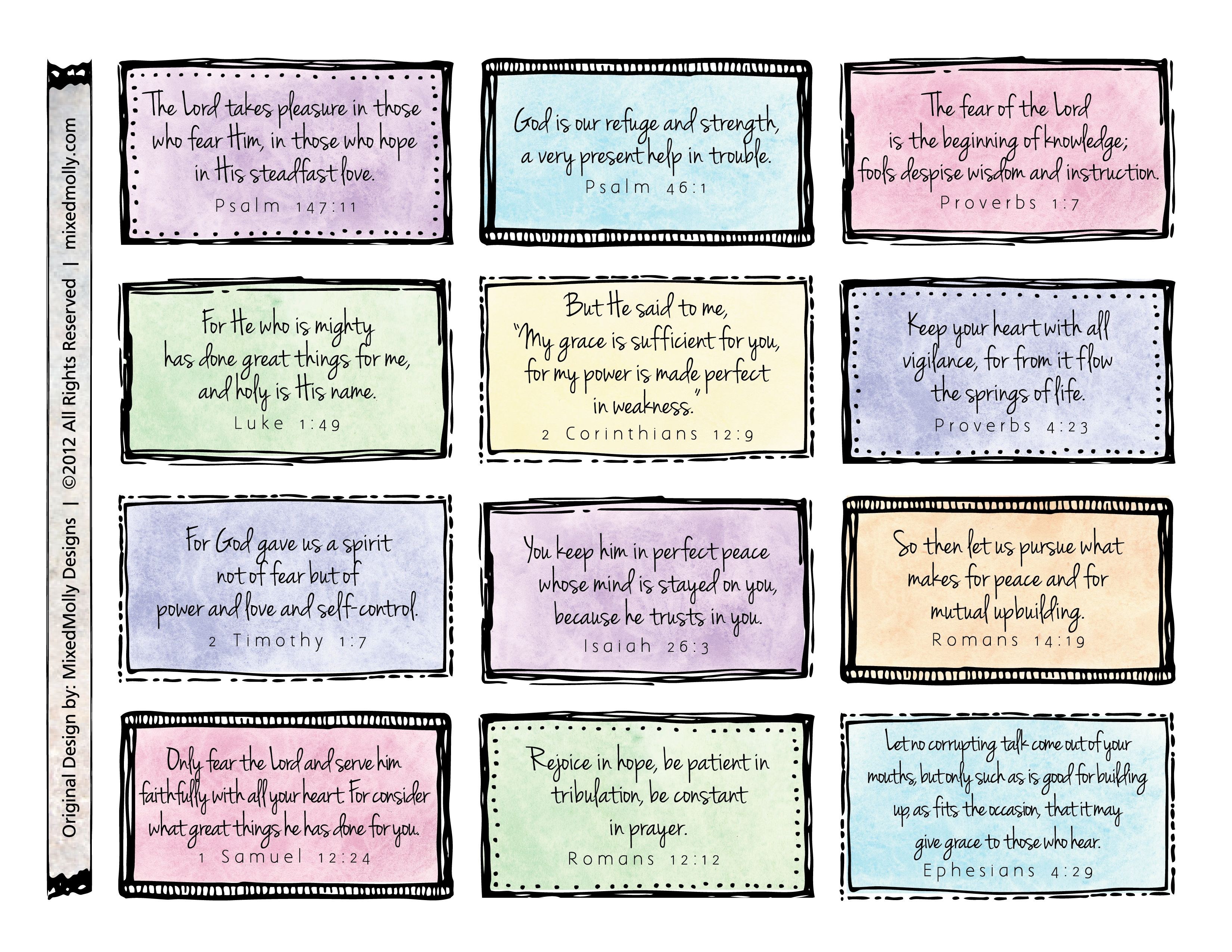 Free Downloadable Scripture Cards. Print On Card Stock And Place On - Free Printable Bible Verse Labels