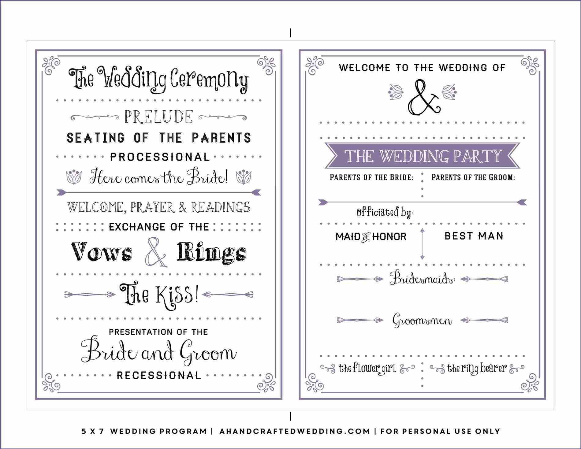 Free Downloadable Wedding Program Template That Can Be Printed - Free Printable Wedding Fan Templates