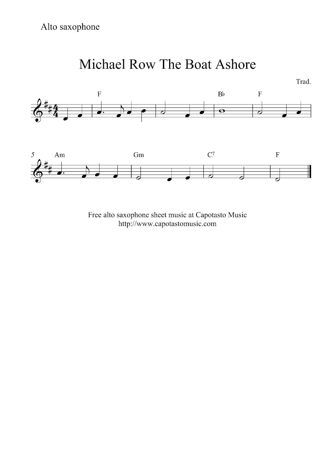 Free Easy Alto Saxophone Sheet Music, Michael Row The Boat Ashore - Free Printable Alto Saxophone Sheet Music