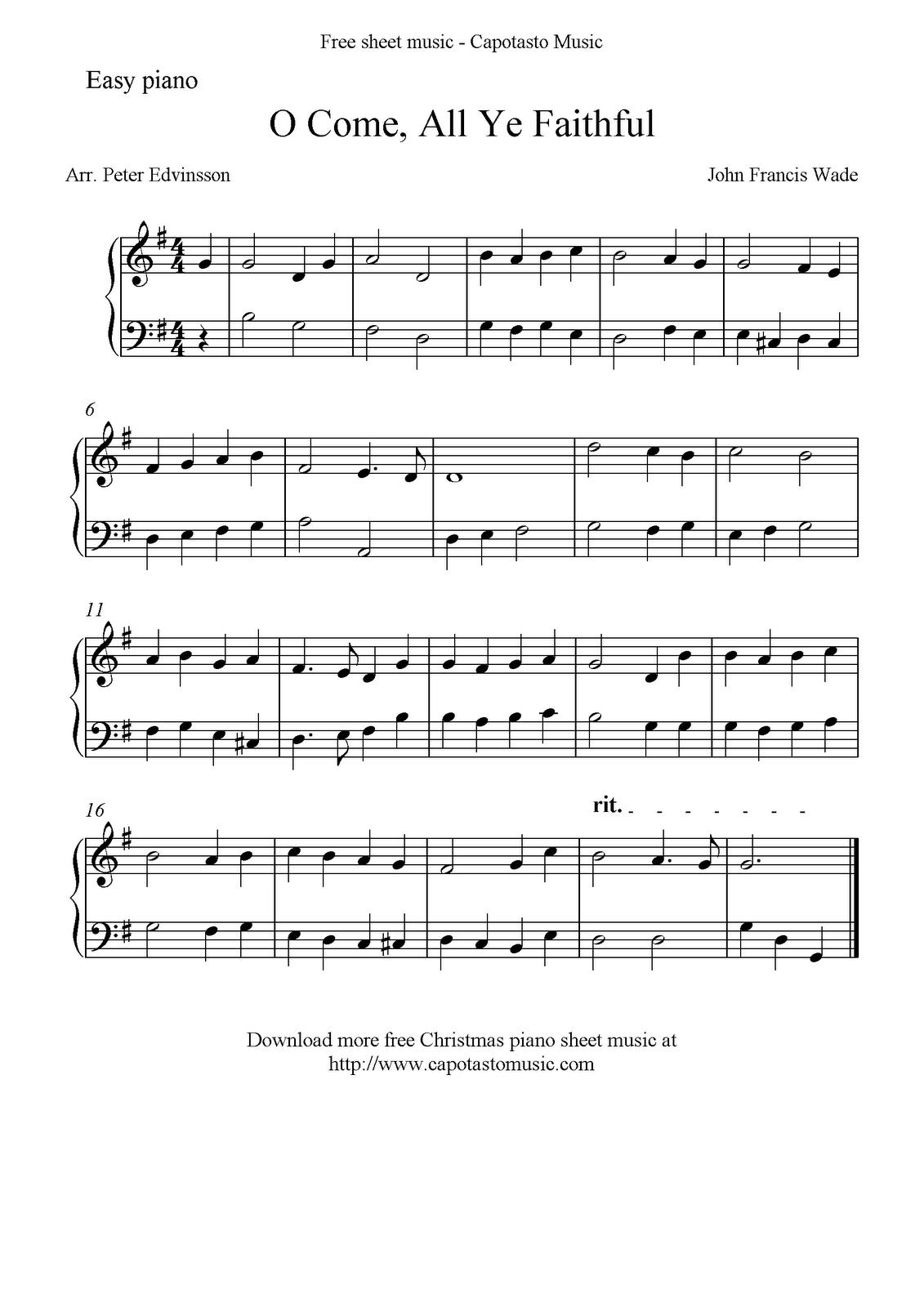 Free Easy Christmas Piano Sheet Music, O Come, All Ye Faithful - Christmas Piano Sheet Music Easy Free Printable