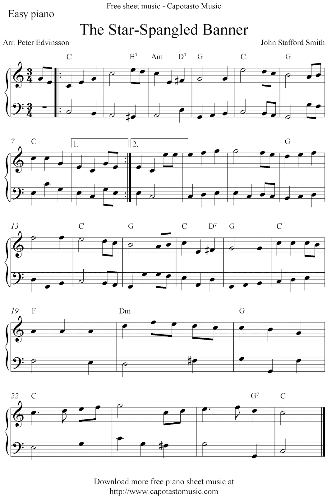 Free Easy Piano Sheet Music Score, The Star-Spangled Banner - Free Printable Piano Sheet Music For The Star Spangled Banner