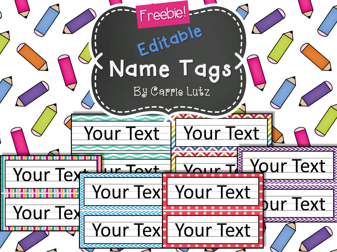 Free Editable!! Chevron, Dots Or Rainbow.simple Name Tags Type In - Free Printable Name Tags For School Desks