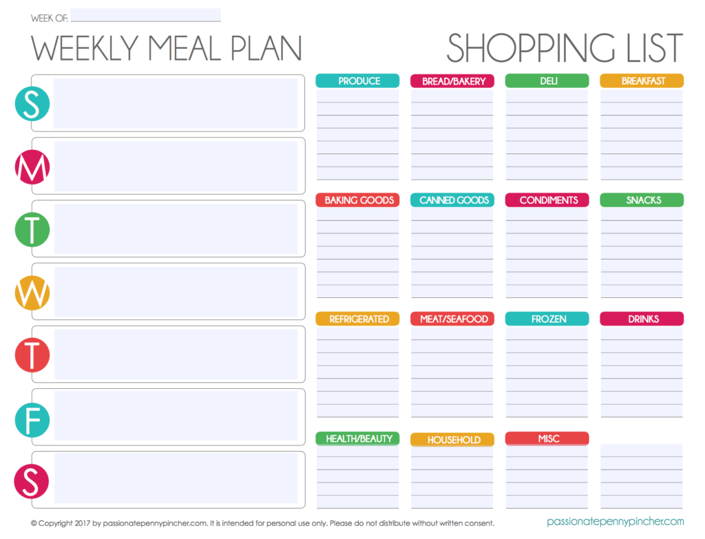 Free Editable Menu Plan And Grocery List!   Passionate Penny Pincher - Free Printable Grocery List And Meal Planner