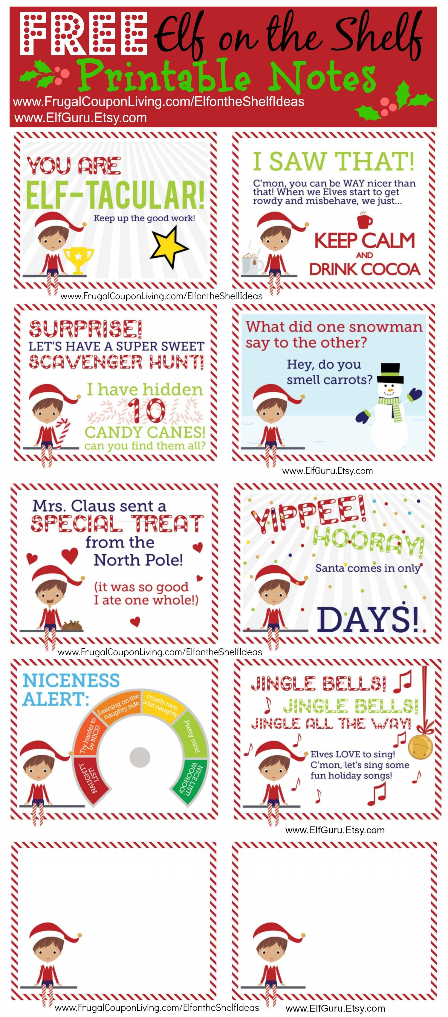 Free Elf On The Shelf Notes. | Holiday: Elf On The Shelf Ideas - Free Printable Elf On The Shelf Notes