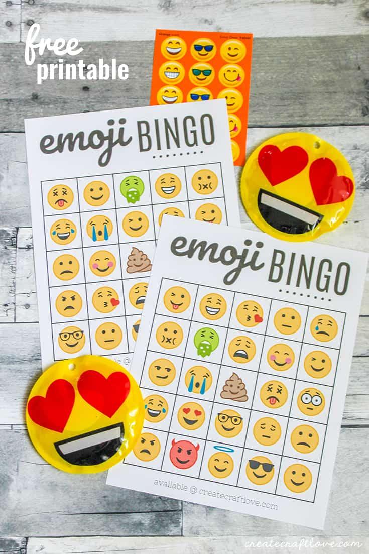 Free Emoji Bingo Printable - Create Craft Love - Free Emoji Bingo Printable
