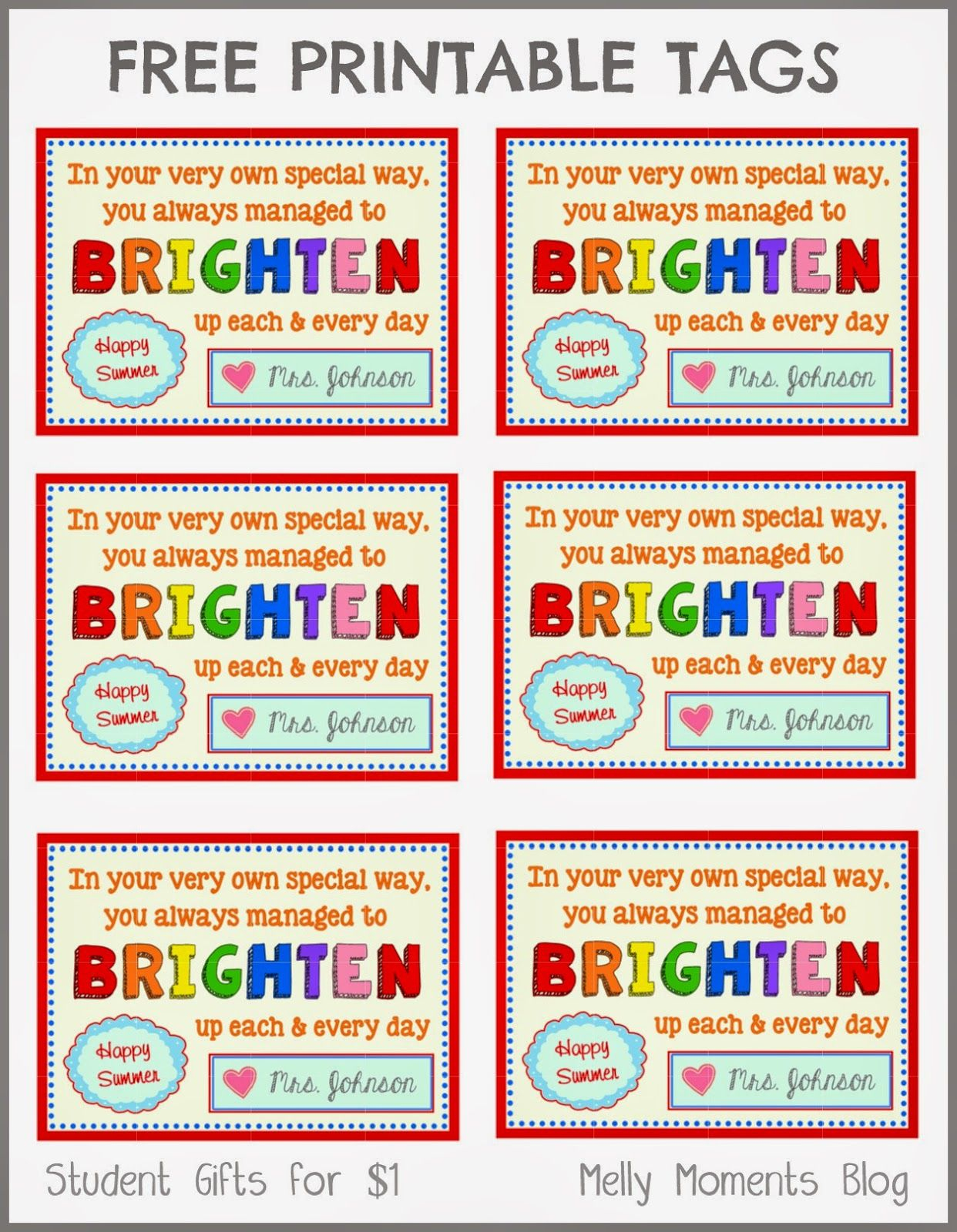 Free End Of Year Gift Tag Printables From Teacher To Student - Free Printable Months Of The Year Labels