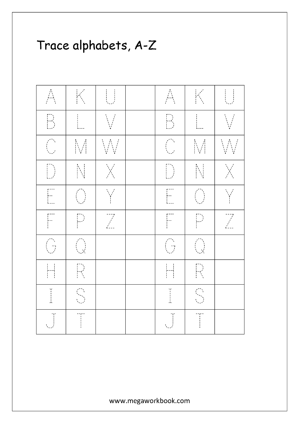 Free English Worksheets - Alphabet Tracing (Capital Letters - Free Printable Alphabet Tracing Worksheets