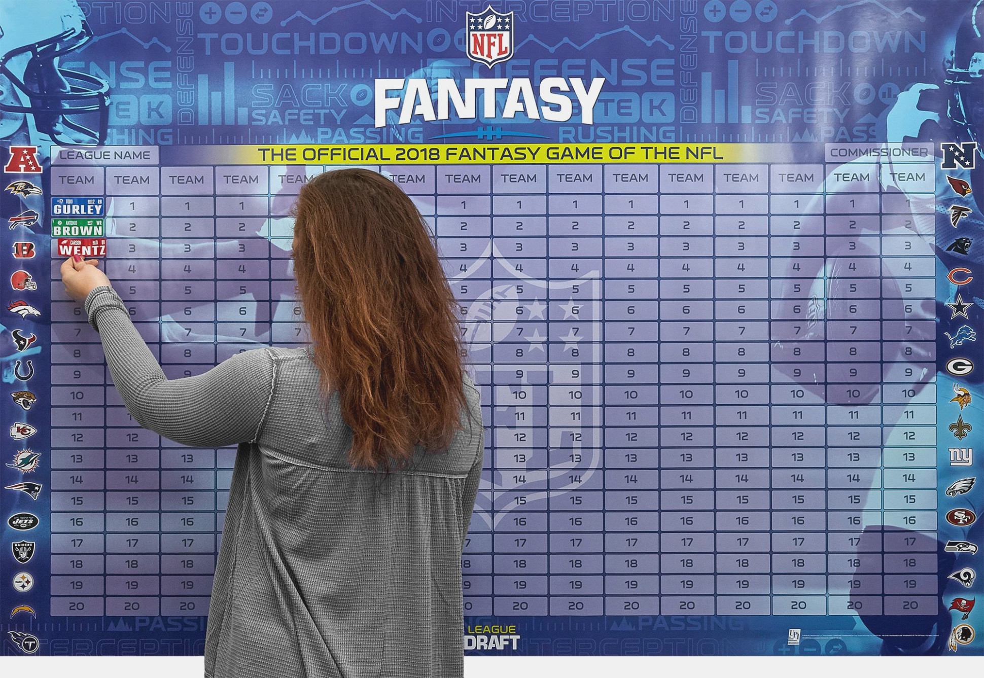 Free Fantasy Football Draft Board Kit   Footballupdate - Free Fantasy Football Draft Kit Printable
