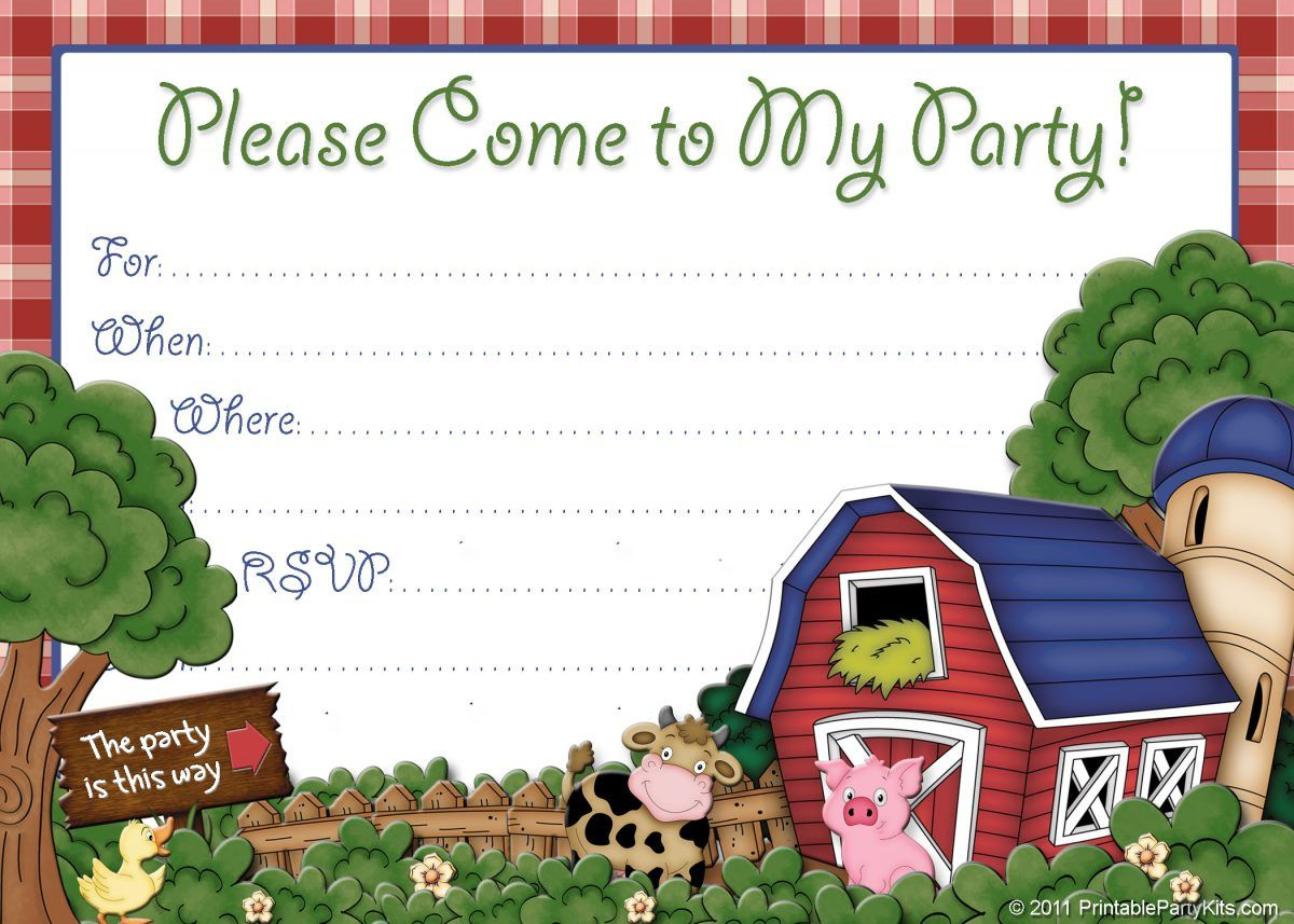 Free Farm Birthday Invitations – Bagvania Free Printable Invitation - Free Printable Farm Birthday Invitations