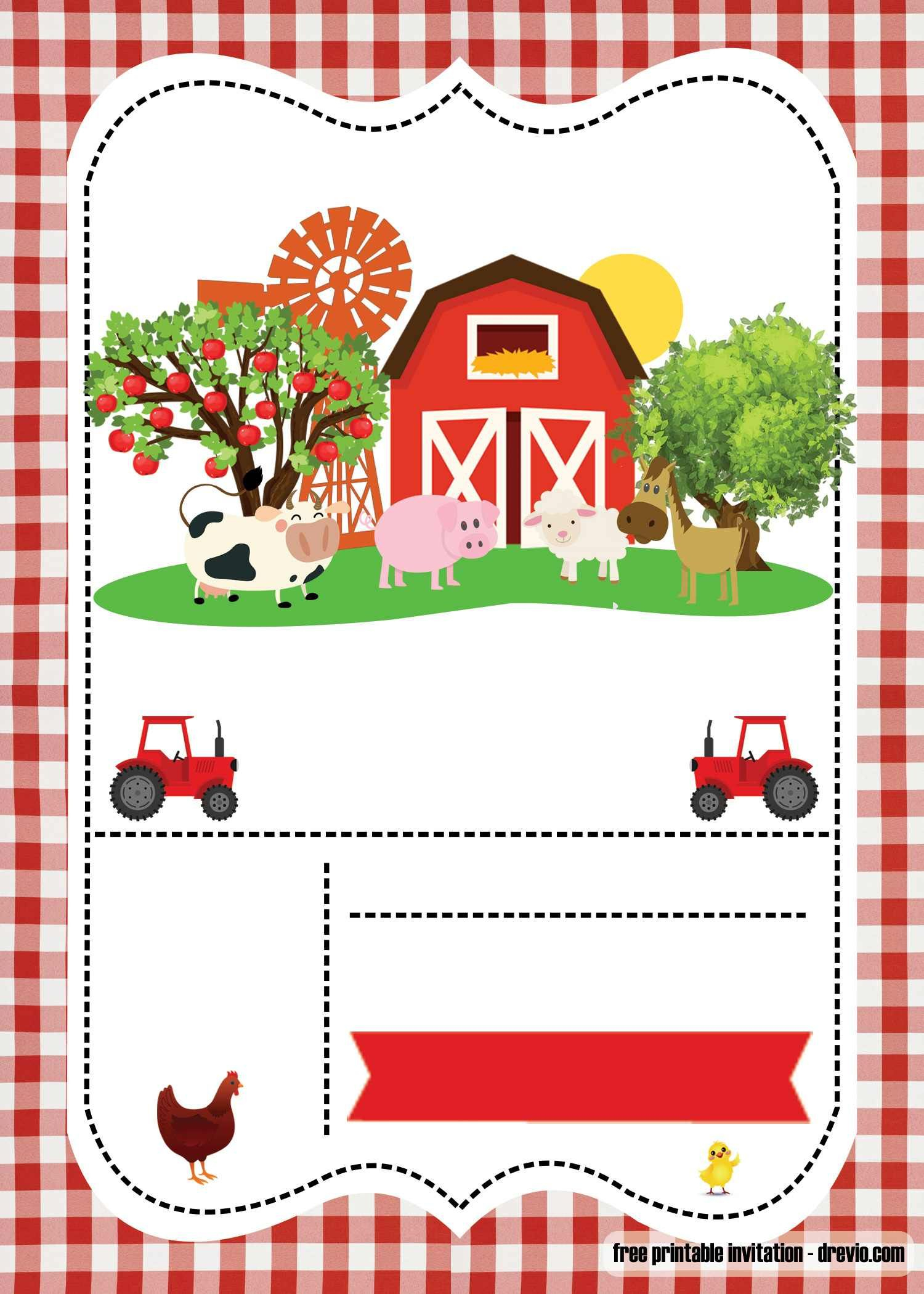 Free Farm Party Invitation Template - | Free Printable Birthday - Free Printable Farm Birthday Invitations