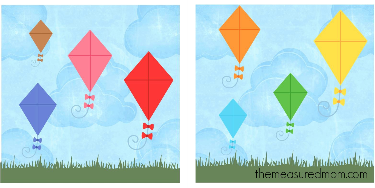 Free File Folder Game For Preschoolers: Kites! - The Measured Mom - Free Printable File Folder Games