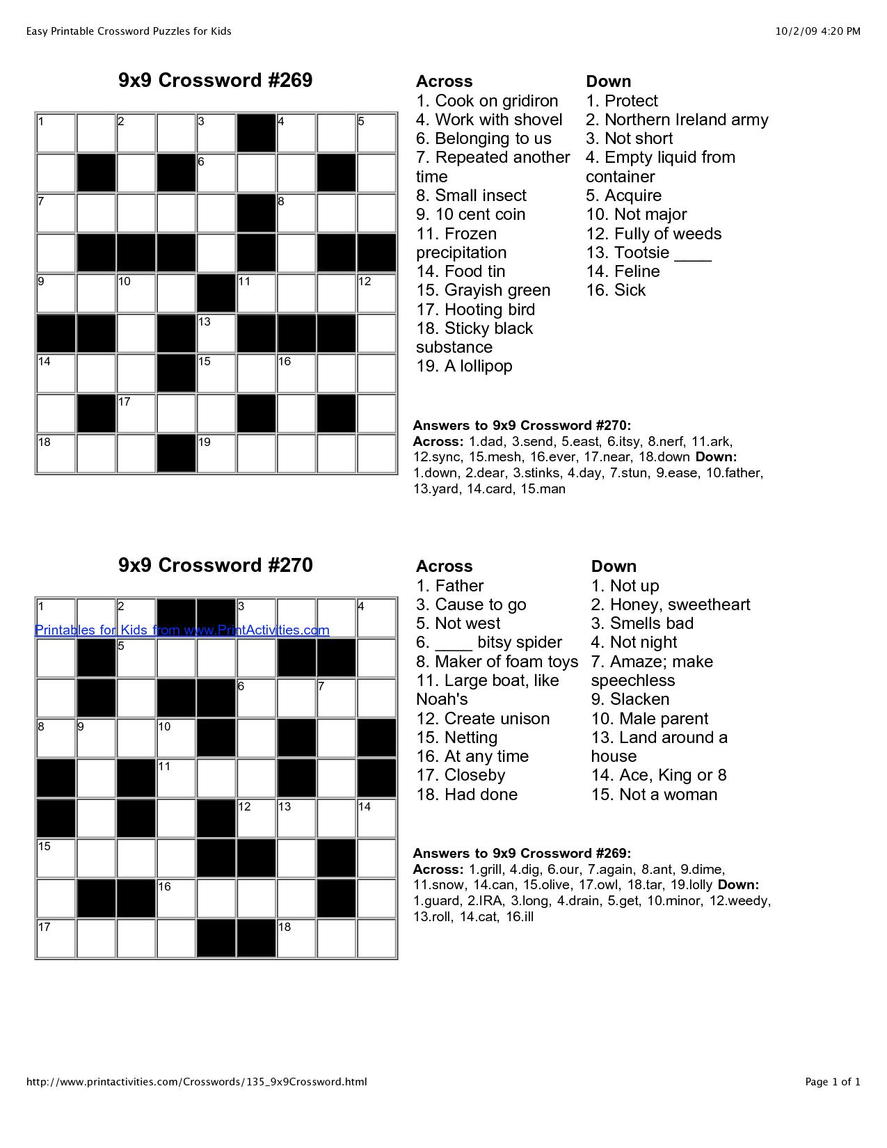 Free Fill In Crossword Puzzle Maker Crosswords Easy Printable - Free Printable Fill In Puzzles Online