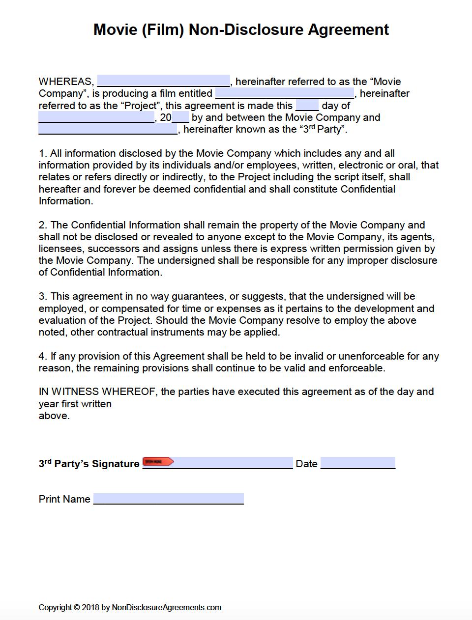 Free Film (Movie) Non-Disclosure Agreement (Nda) Template | Pdf | Word - Free Printable Non Disclosure Agreement Form